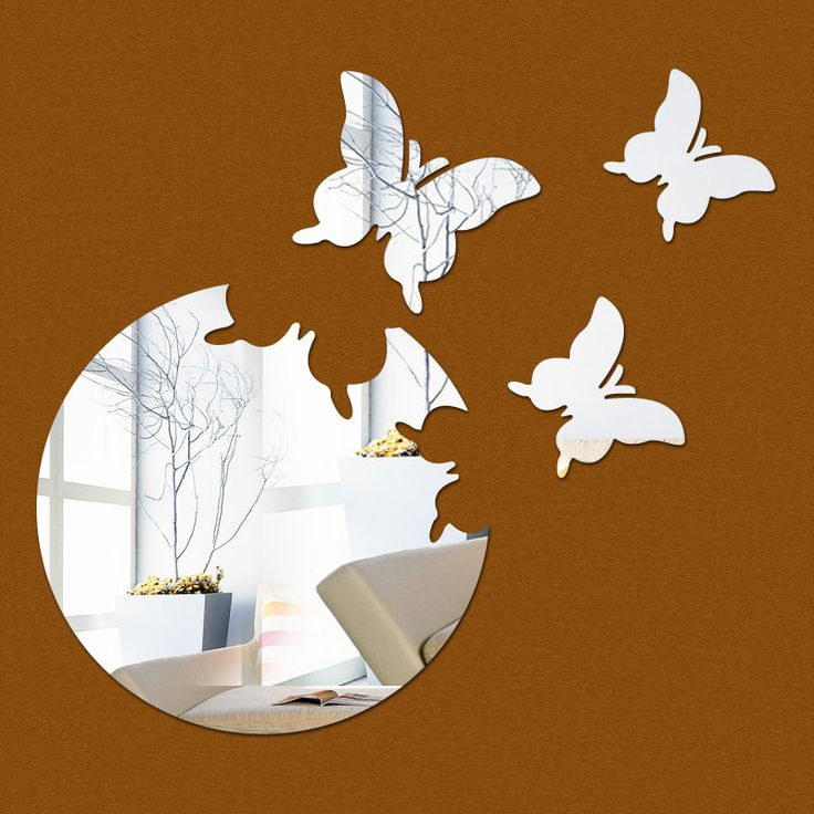 Home decor wall stickers diy kitchen acrylic mirror modern multi-piece package pattern large