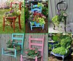 Een oude stoel als plantenbak