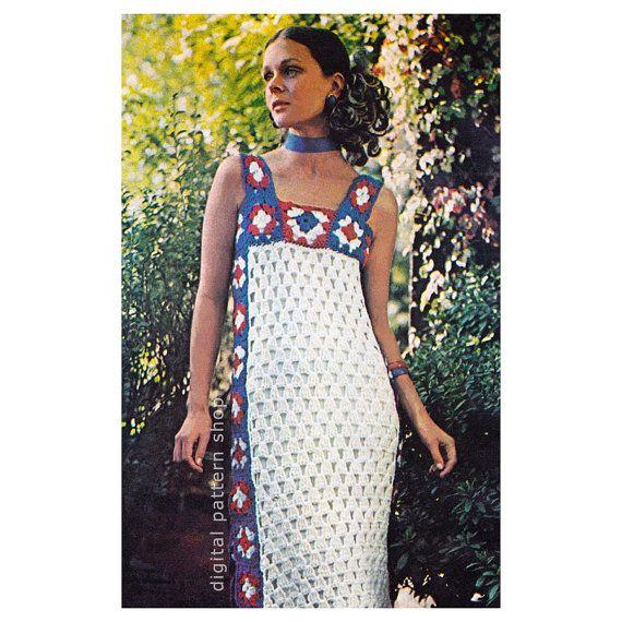 Crochet Dress Pattern Vintage Granny Square by DigitalPatternShop