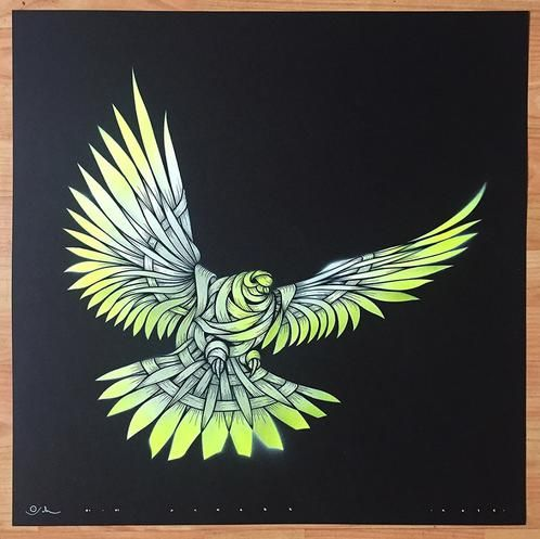 Dove £250.00  Otto Schade     Dove    Stencil spray paint on 300 grs card paper Black background Yellow, White  Size 59.4 x 59.4 cm  Edition 1/1