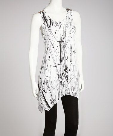 White Abstract Tunic by Lazy Daisy on #zulily today!