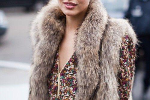 Fur vests + floral prints.