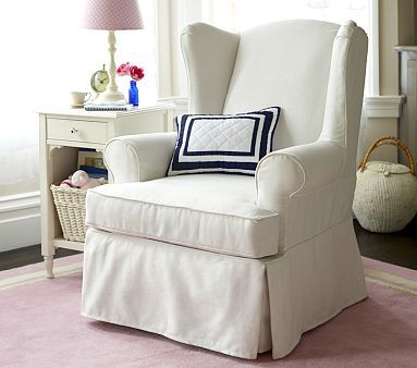 """Slipcovered Wingback Glider - Washed Grainsack in """"Flax"""""""
