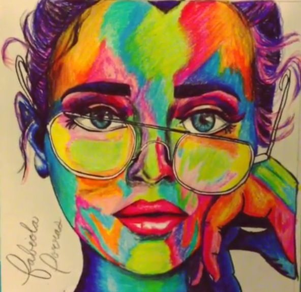 Sometimes I color  Art. Girl. Colorful. Drawing. Colored pencils. Eyes. Bun.