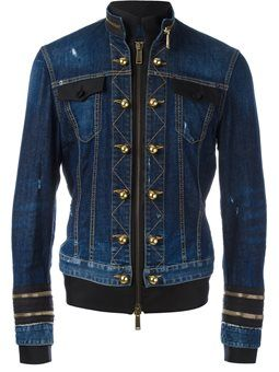 officer wash zipped denim jacket