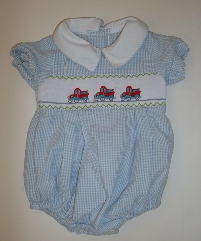 Shrimp And Grits Kids Baby Boy 9M 9 Months Smocked TRUCKS Blue White Gingham #ShrimpGritsKids #DressyEveryday