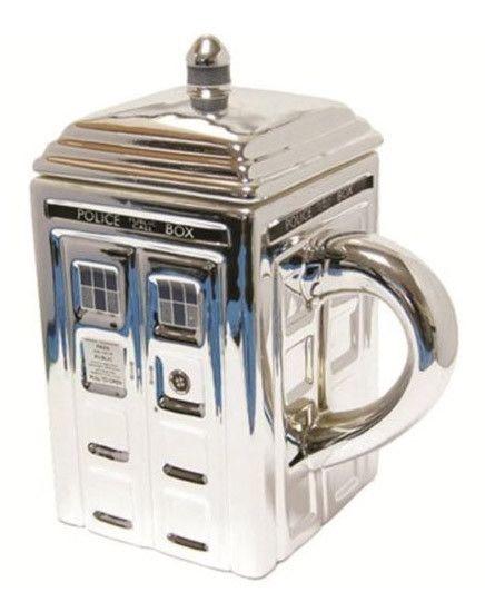 Doctor Who Tasse Tardis Silver  coole Tardis -Tasse aus der beliebten TV-Serie `Doctor Who`  - Offiziell lizenziert - Fassungsvermögen: 0,32 Liter - Material: Keramik  Doctor Who Tassen - Hadesflamme - Merchandise - Onlineshop für alles was das (Fan) Herz begehrt!