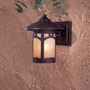 The Great Outdoors 8721-615B Beacon Rhodes Small Outdoor Sconce, by Minka Great Outdoors. $79.90. Finish:Dorian Bronze, Light Bulb:(1)60w A19 Med F Incand Design details are the focus of the Beacon Rhodes small exterior sconce, with an arts and crafts style that provides style and warmth.Features Double French Scavo glass and a hand-applied multi-step finish.Note: Finishes may vary due to chemical processes and the nature of handcraftsmanship.