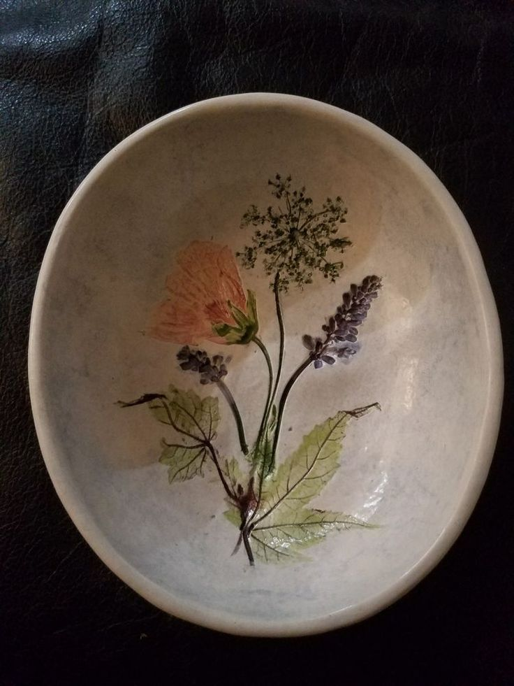 "Salt Marsh Pottery Oval Bowl or Wall Hanging Salvia Flowering Maple 6.25"" x 5.5"""