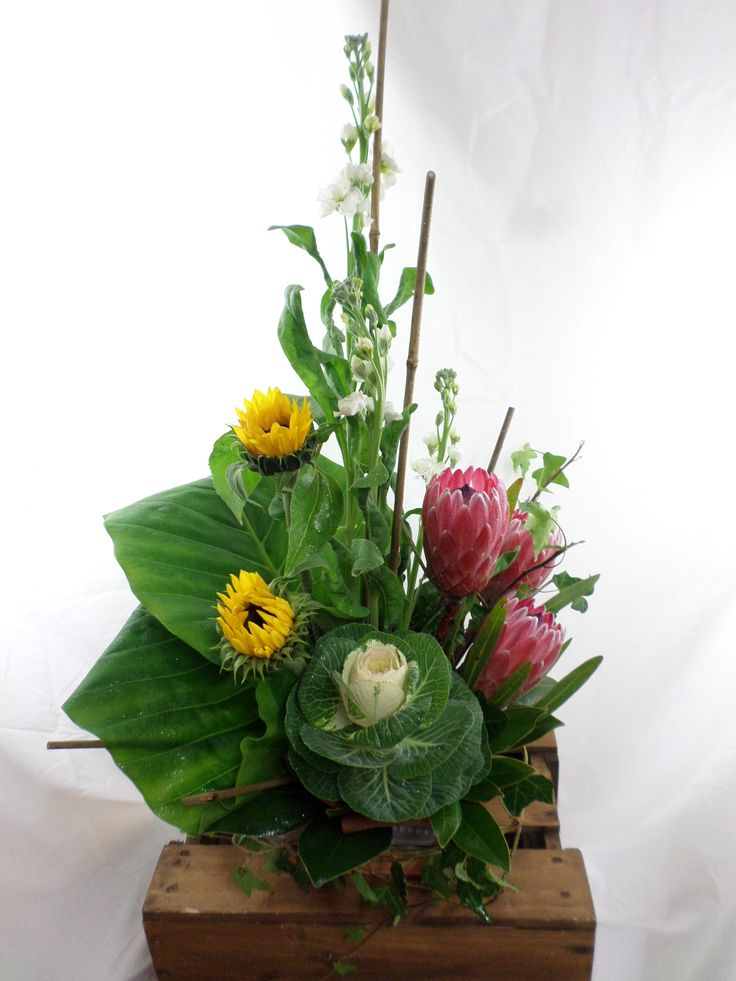 Large table arrangement. With sunflowers, Kale and protea's  Created by Florist ilene