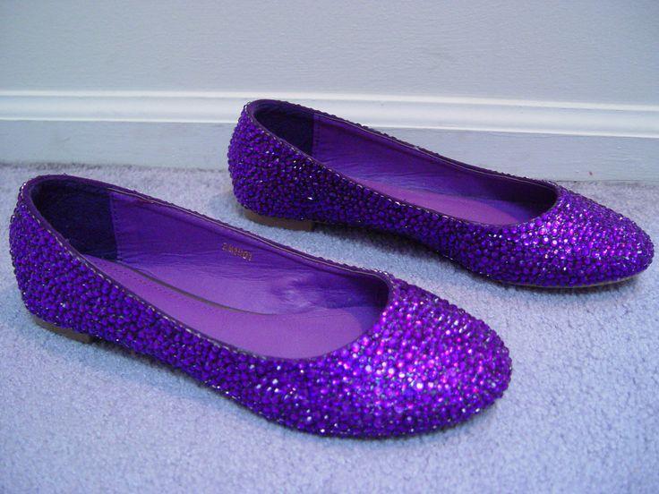 Hand Made Pink Purple Wedding Rhinestone Flats Shoes. $109.00, via Etsy.