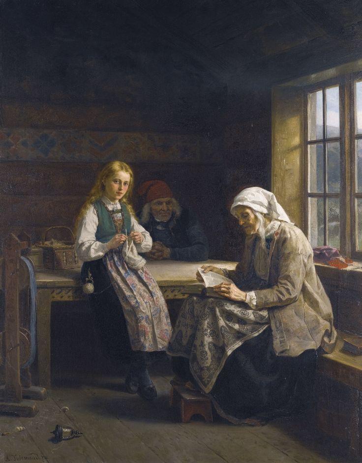 Adolph Tidemand - En Hardanger interiør, ung jente strikking. 1874. jpg (1562×2000)