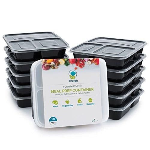 10-Pack 3 Compartment Meal Prep Containers with Lids, 32 oz | Reusable Microwavable Divided Food Storage Lunch Bento Boxes
