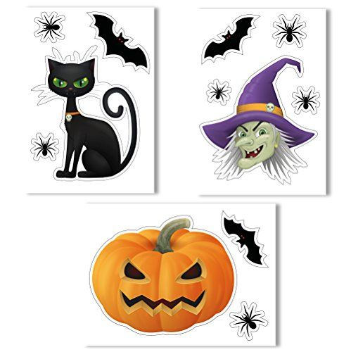 Halloween window clings by articlings witches head pumpkin black cat bats