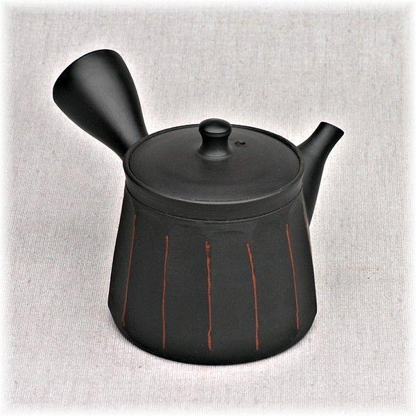 Kyusu Seitengriff-Kanne schwarz mit Streifen ca. 120 ml, Japan mit Tüllensieb