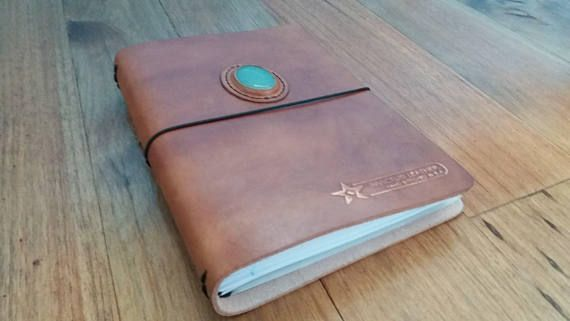 Check out this item in my Etsy shop https://www.etsy.com/listing/542377670/brown-leather-journal-with-aventurine