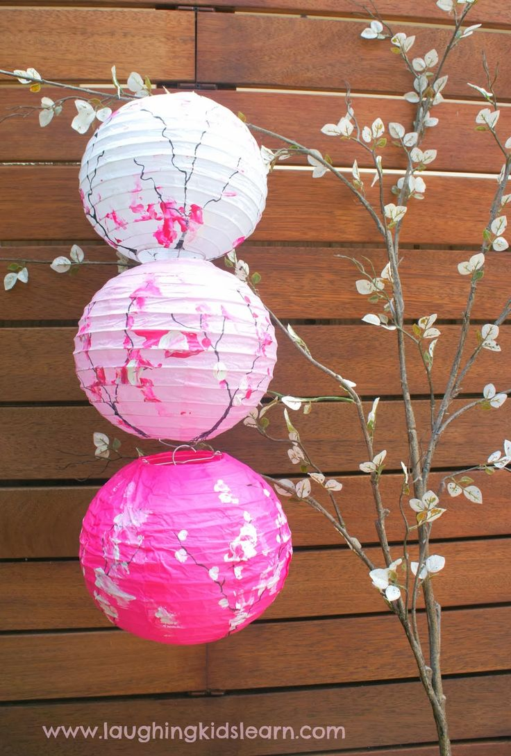 Gorgeous toddler decorated lanterns inspired by cherry blossom trees