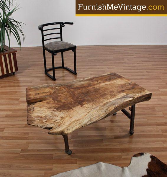 Rustic Wood Slab Industrial Coffee Table: Gum Wood Slab Coffee Table By Funktionhouse Use As A