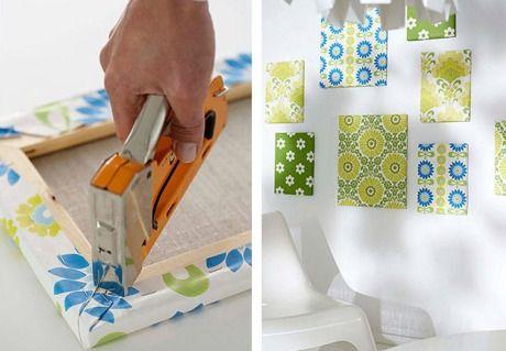 Utilizar telas para realizar cuadros decorativos.
