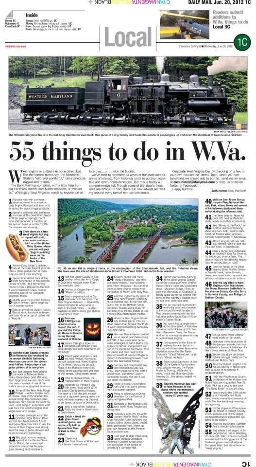 In honor of West Virginia's 149th birthday, Wednesday's local front featured a West Virginia bucket list. How many of these 55 things have you done?