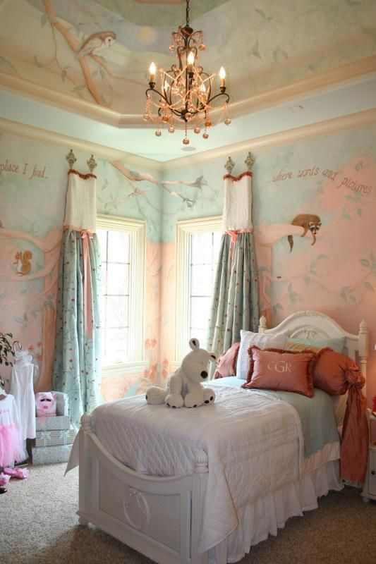 Pretty Girlu0027s Bedroom With Lea Bed And Stunning Wall Mural. Wall Murals By  Leigh Ann Agee, Nashville, TN Pictures