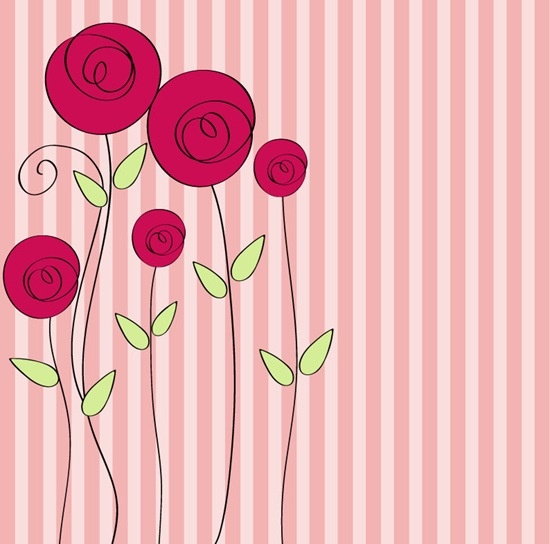 Hand Drawn Style Floral Romantic Background