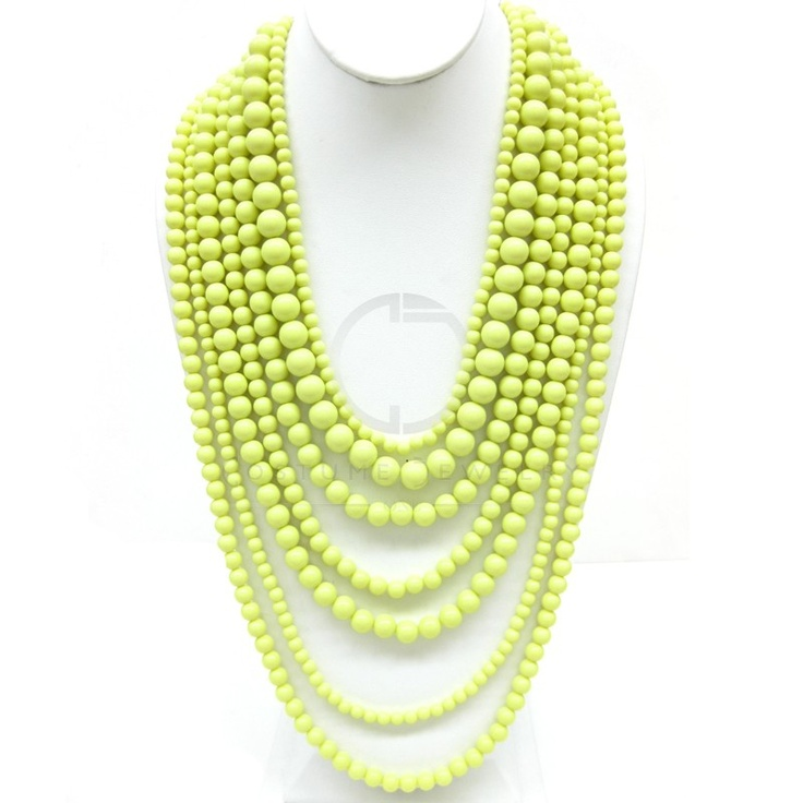 LIME Green Seven Strands Nested Necklace