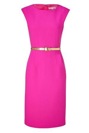 Michael Kors neon pink sheath dress: Kors Neon, Pink Belts, Hot Pink Dresses, Bright Pink, Belts Sheath, Gold Belts, Kors Pink, Neon Pink, Sheath Dresses