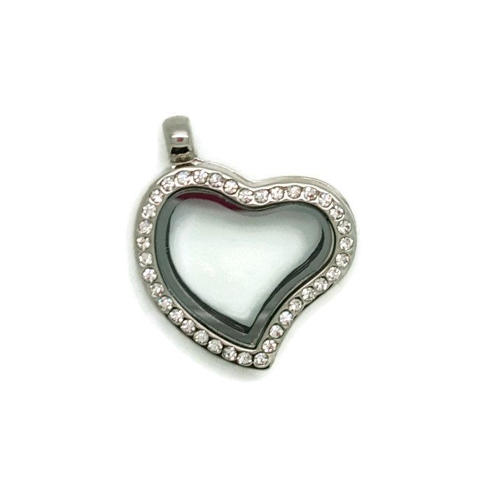 Heart Floating Locket Necklace, Crystal Heart Jewellery, Floating Charms, Valentines Gift Idea, Floating Locket, Charm Locket by LittleBitsOfBling on Etsy