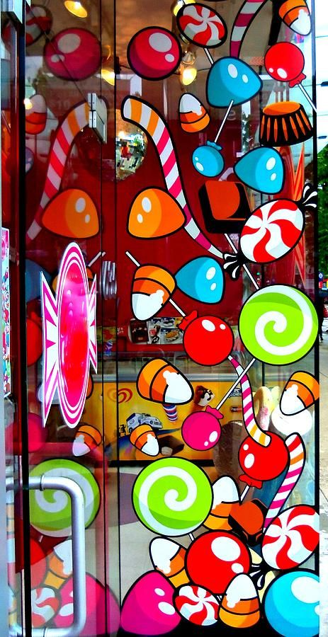 """eye catching window decals from """"Kid in a Candy Store"""""""