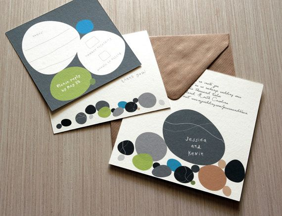 """Pebbles"" Wedding invitation"