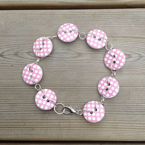 Pink polka dot button bracelet, womens button bracelet, button jewelry