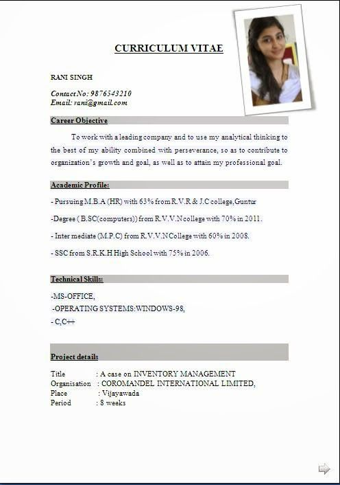 latest cv format for freshers