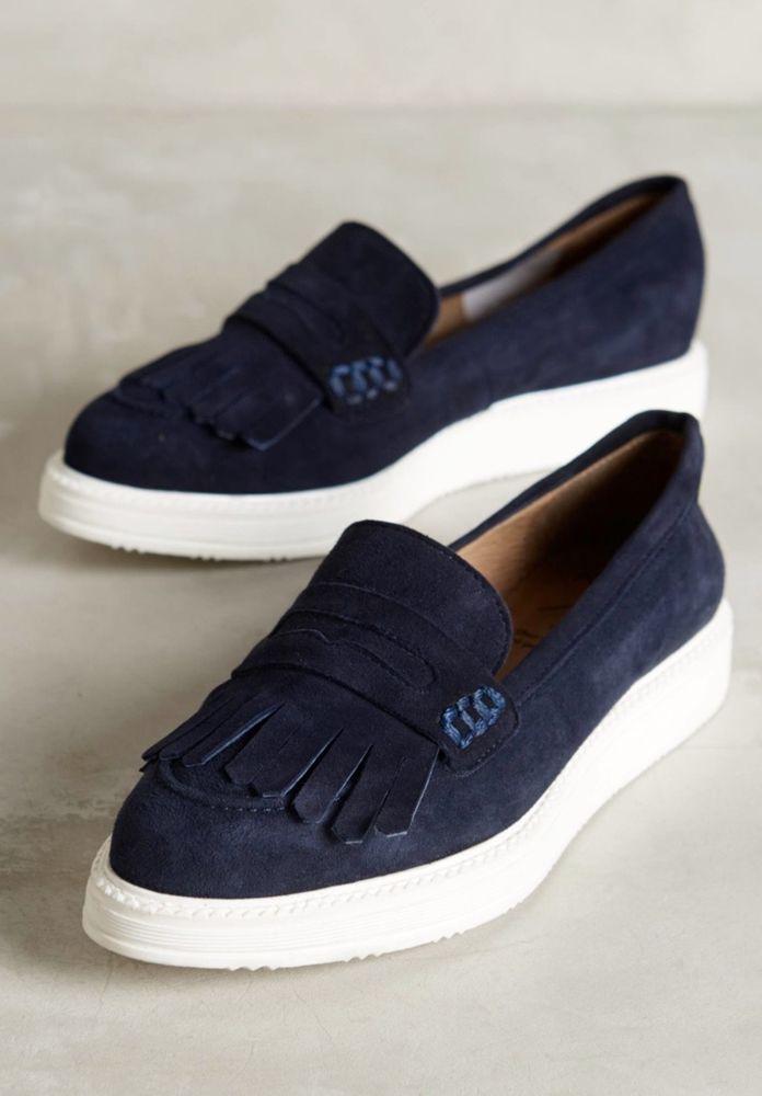 477e620c42e5 NEW Anthropologie KMB blue Suede Point Platform Slip On Fringe Loafer  Sneaker 39  Anthropologie  SneakerLoafers