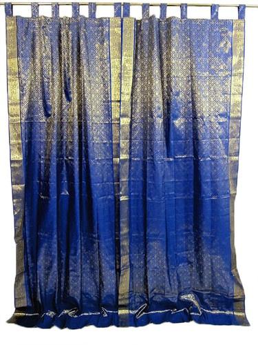 Pair Silk Sari Curtains Royal Blue Gold Saree Curtain
