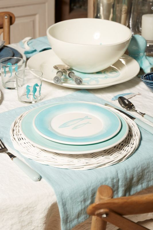 Seaside table setting from Cotè Table, seagreen colors, fish plates