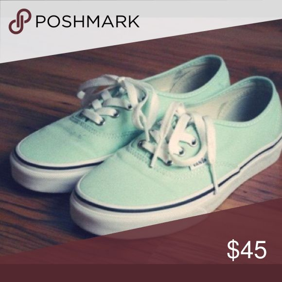 Mint Green Low Top Vans Mint green vans in pretty good condition. There are a few scuffs but are easily fixed Vans Shoes Sneakers