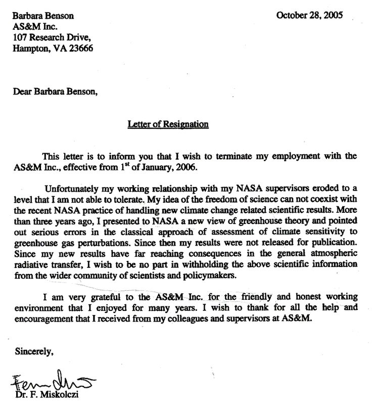 Secretary Resignation Letter The Full Text Of The Letter Official ...