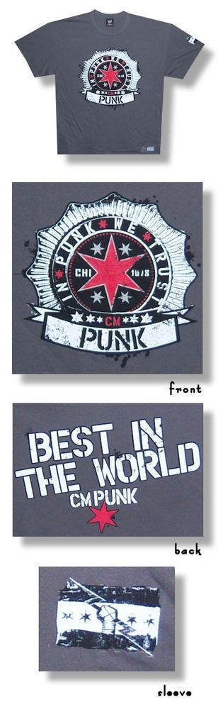 Adult Men's Official WWE CM Punk In Punk We Trust Tee Shirt- Charcoal Gray S