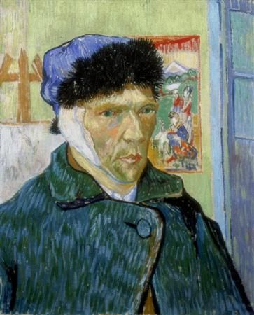 画家ビンセント・ファン・ゴッホが1889年に描いた「耳を包帯でくるんだ自画像」。ゴッホは自分の左耳をカミソリで切り落としたとされるが、自画像は鏡をみながら描かれたため右耳に包帯が巻かれているようにみえる