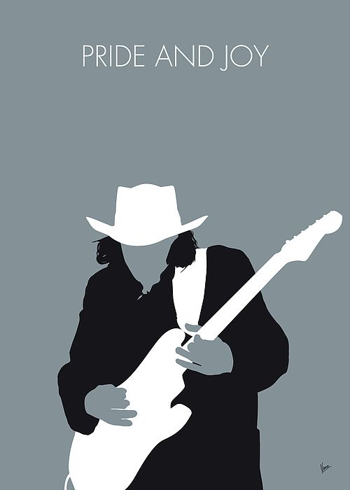 """No087 MY Stevie Ray Vaughan Minimal Music poster by Chungkong.nl  """"Pride and Joy"""" is a song by Texas singer/guitarist Stevie Ray Vaughan and his backup band Double Trouble.   TAGS: Stevie, Ray, Vaughan, Pride, and, Joy, Texas, Double, Trouble, debut, album,   minimal, minimalism, minimalist, poster, artwork, alternative, graphic, design, idea, chungkong, simple, cult, fan, art, print, retro, icon, style, gift, room, wall, time, best, quote, song, music, inspiration, rock, guitar, star…"""