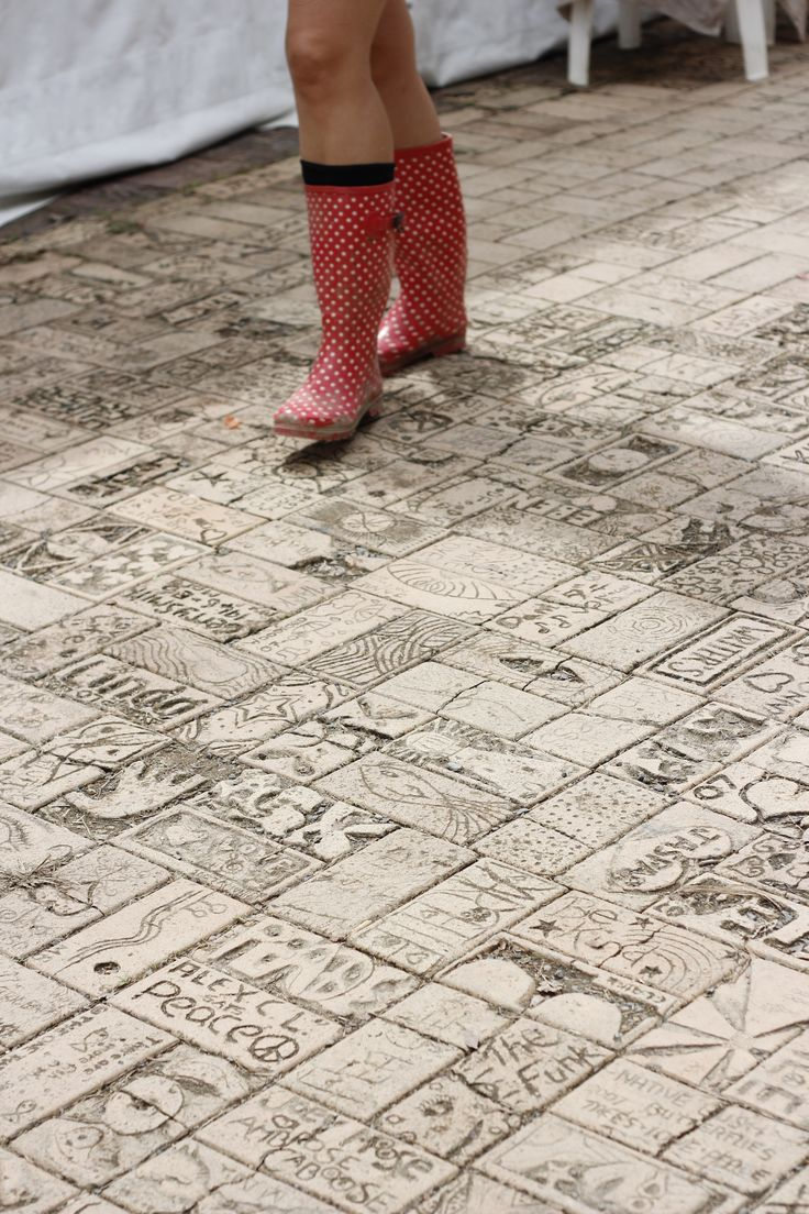 Pavers made by Woodfordians past and present...messages and drawings of what Woodford means to its people.