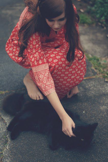 //: Dresses Black, Beautiful Cat, Hair Colors, Kitty Cat, Black Kitty, Vintage Photography, Cute Black Cat, Cat Lovers, Red Cat