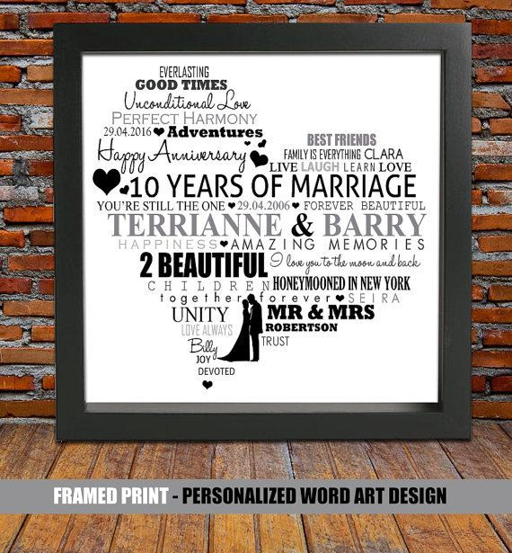 Personalized 10th wedding anniversary  10 year by BlingPrints