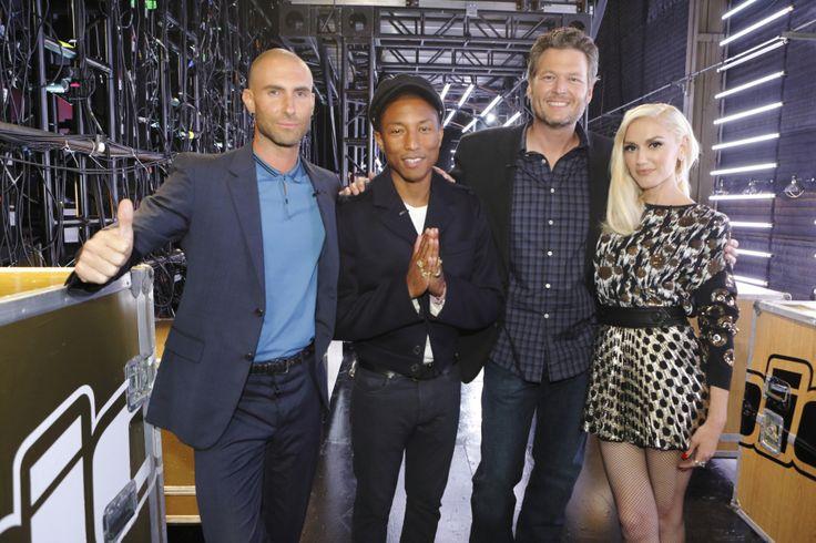 THE VOICE -- 'Battle Rounds' -- Pictured: (l-r) Adam Levine, Pharrell Williams, Blake Shelton, Gwen Stefani -- (Photo by: Trae Patton/NBC) via @AOL_Lifestyle Read more: http://www.aol.com/article/2015/11/17/blake-shelton-makes-gwen-stefani-blush-over-booty-call-remark/21267385/?a_dgi=aolshare_pinterest#slide=3687871