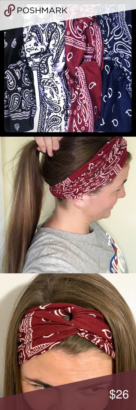 4 Pack bandana print yoga headband 4 pack! Bandana paisley print yoga headband. Comfortable, soft stretch cotton. Red, blue, black and white all inclu...