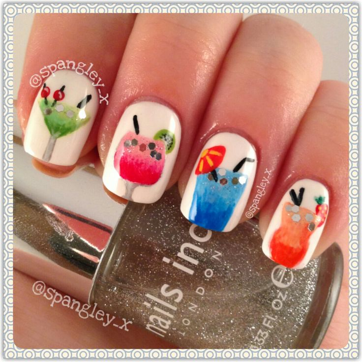 Super cute cocktail nails. #nailart #summer #nails