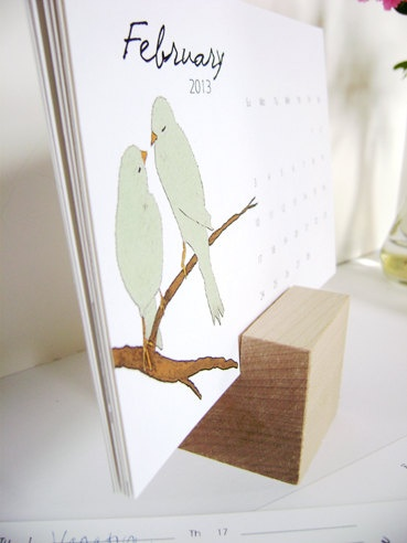 Handmade Bird Calendar with Wood Cube, Eva Artwork. $18.00, via Etsy.