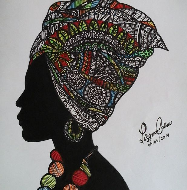African woman silhouette- Sharpie Art