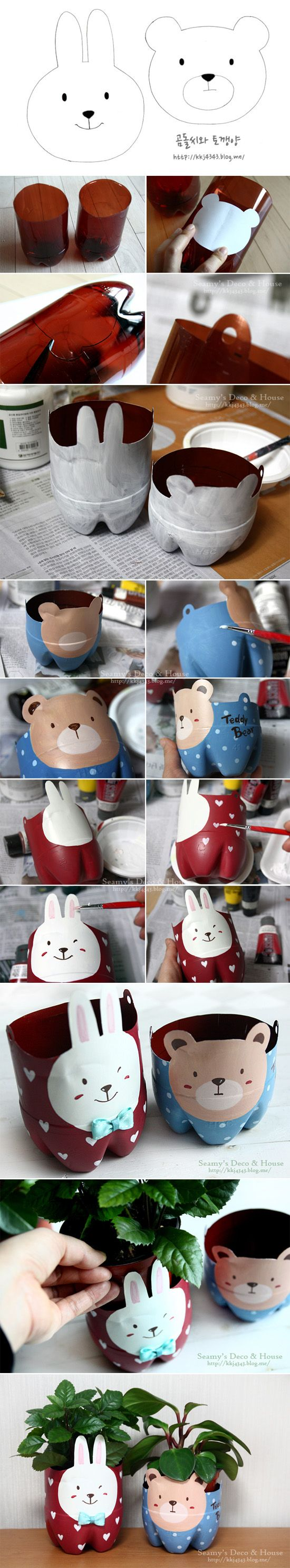 Divertidos maceteros reciclando botellas de plástico...hanging plastic bottle planter with bear or bunny face. So cute, not in English but easy to understand.